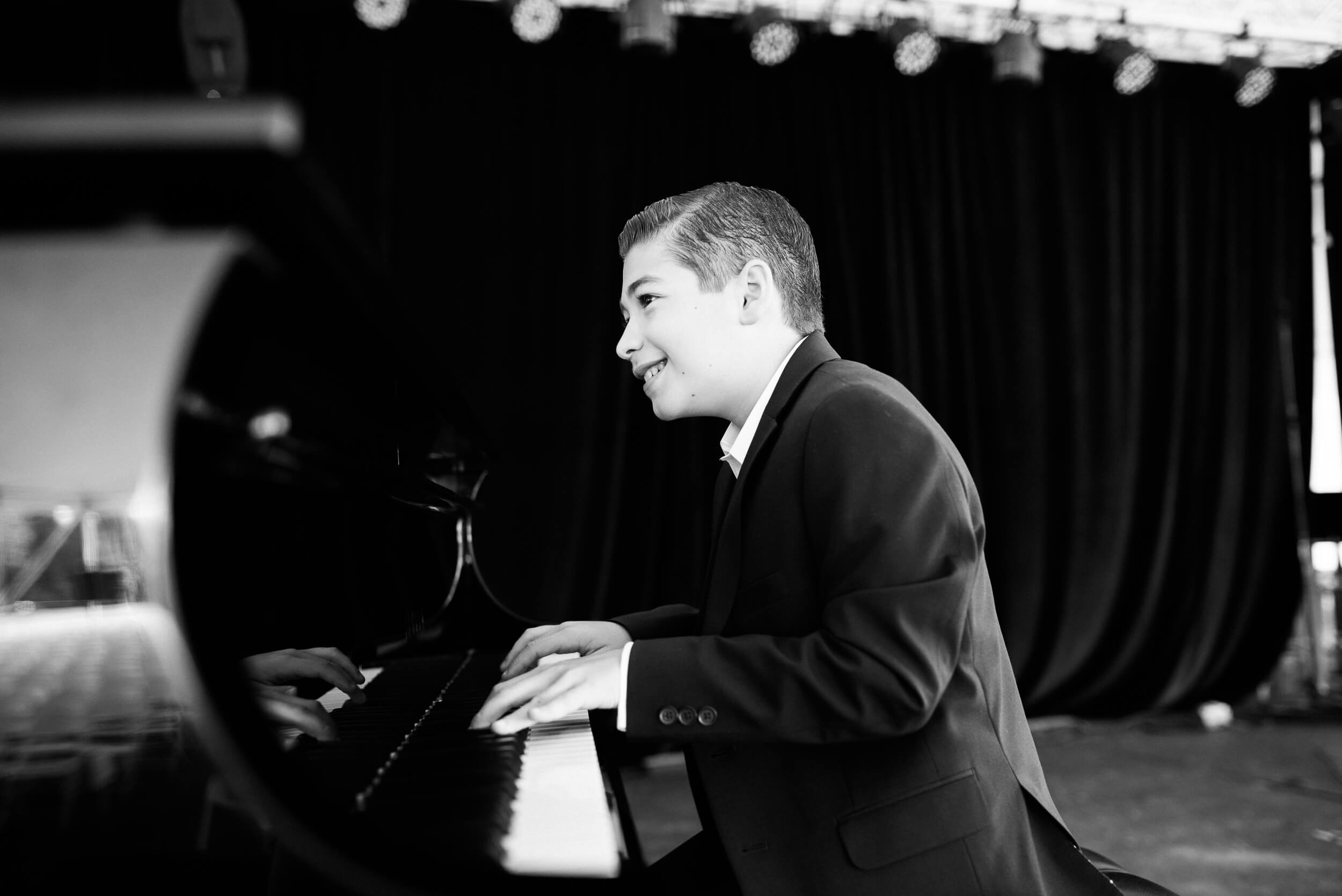 Young piano prodigy Brandon Goldberg from Florida, piano headshot at Litchfield Jazz Festival black and white by Lindsey Victoria Photography
