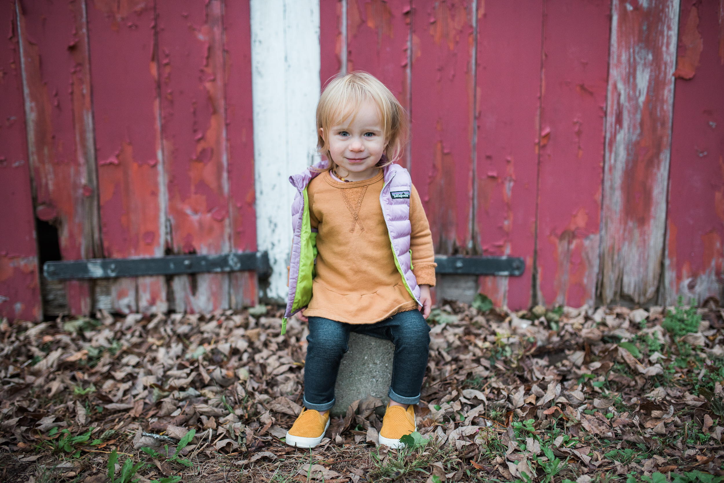child and lifestyle family photography little girl red New England barn in Litchfield County Connecticut by Lindsey Victoria Photography