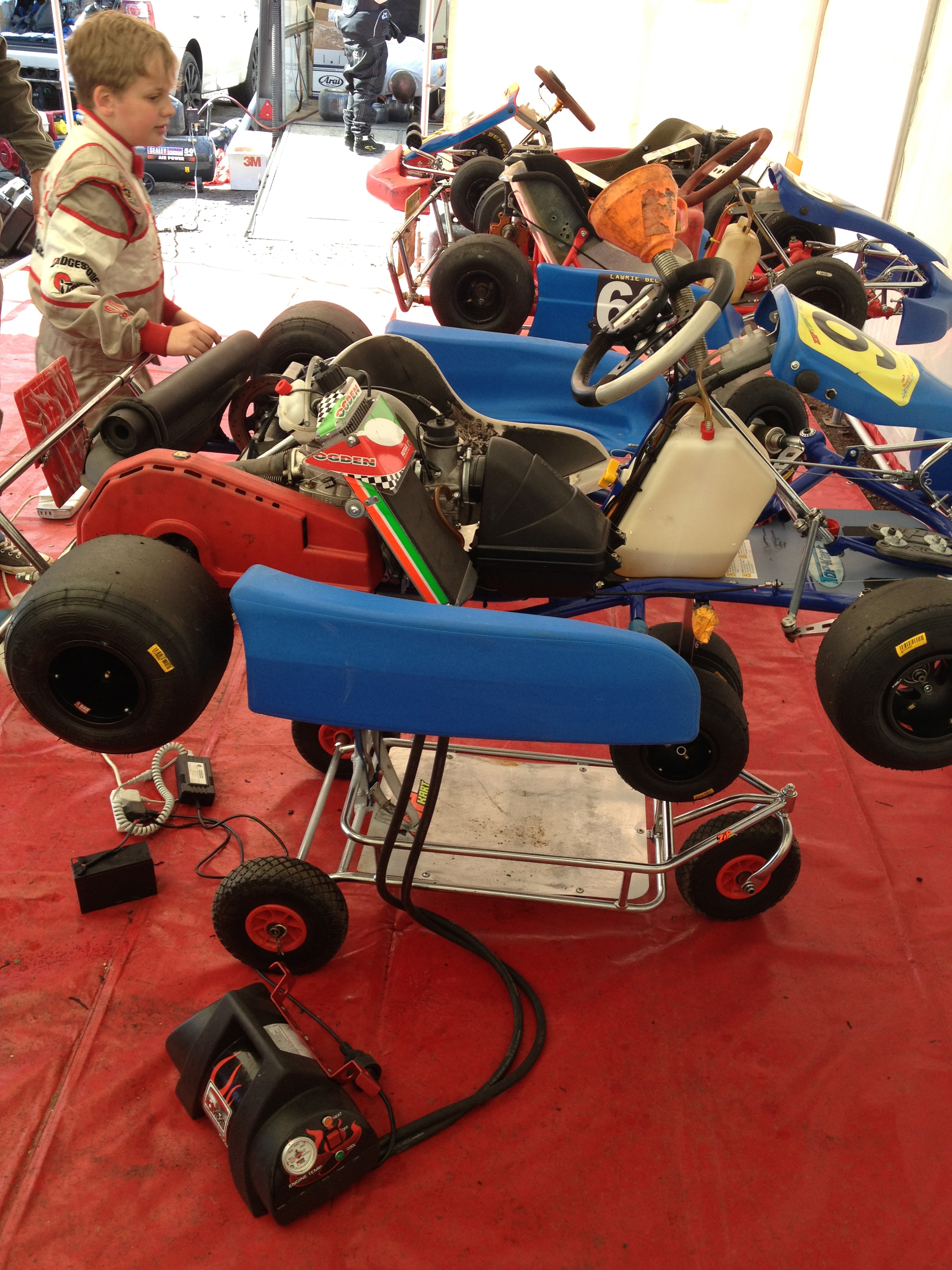 Kart with heater in tent.jpg