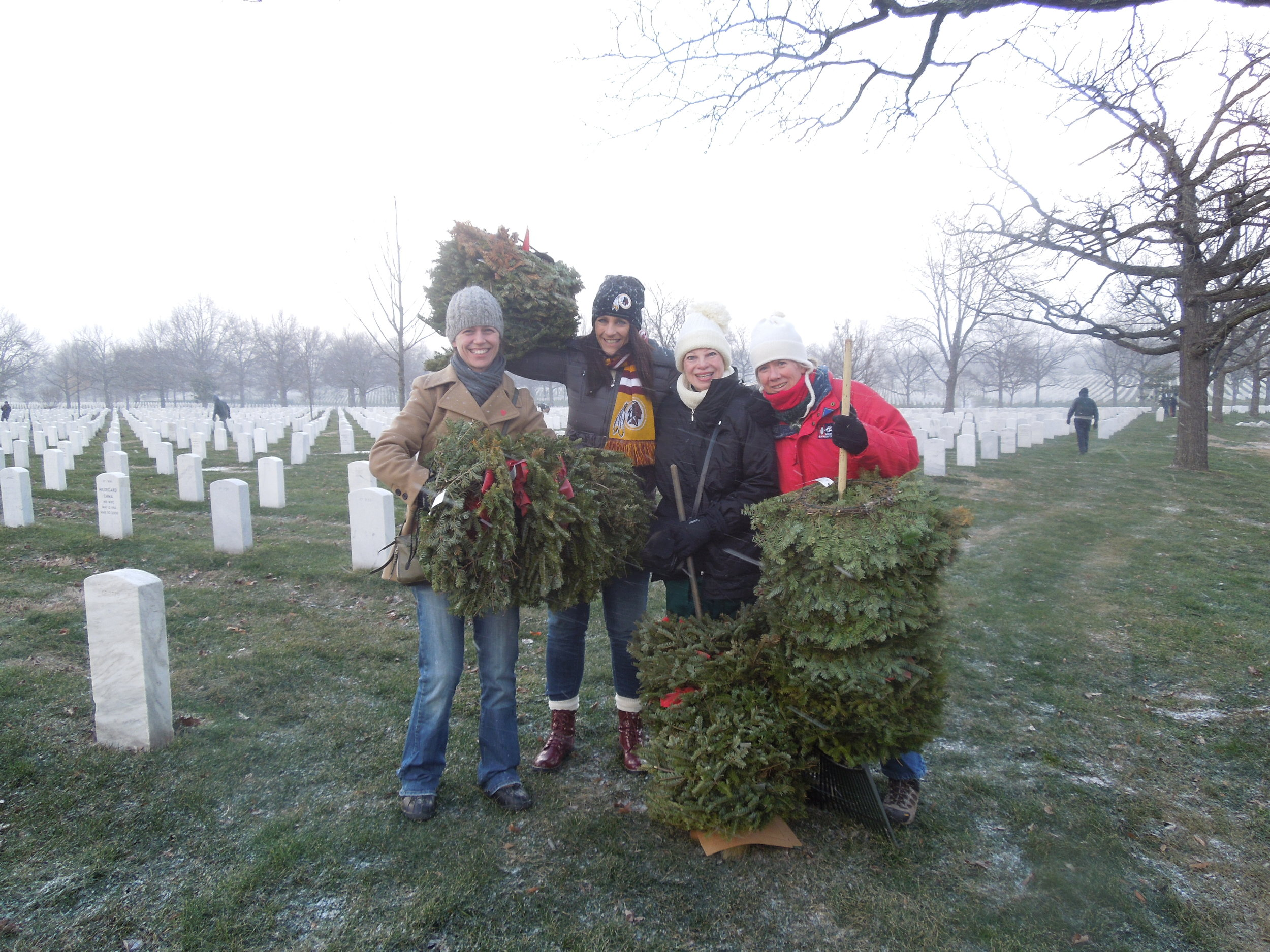 Wreath clean up, Arlington National Cemetery