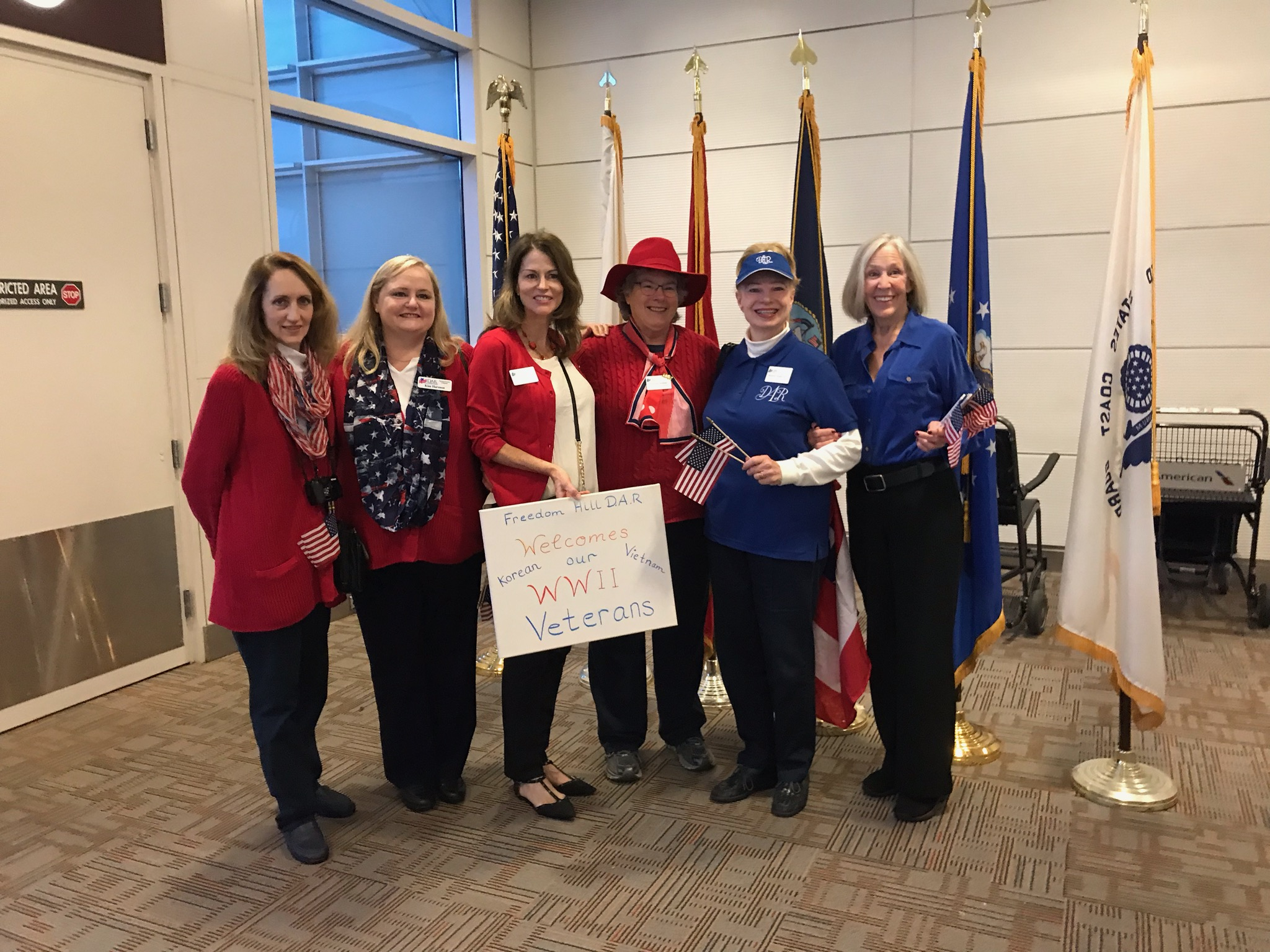 Freedom Hill Daughters greet veterans at their Honor Flight, Reagan National Airport, October 2018