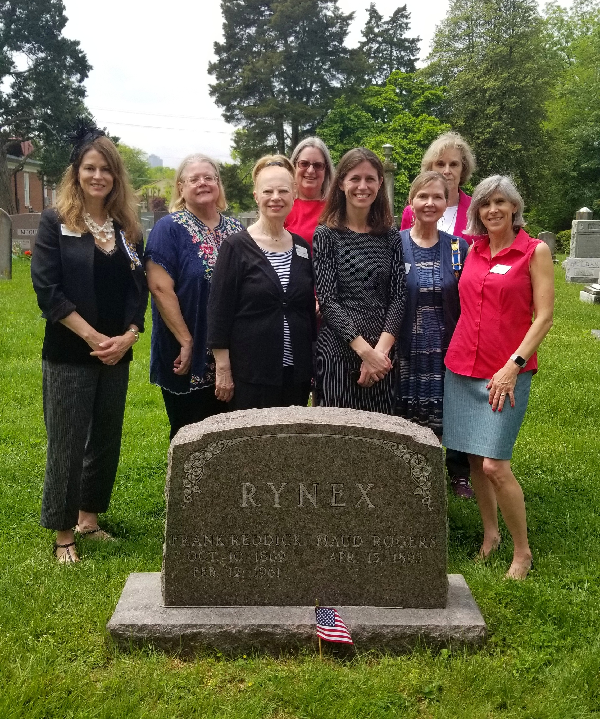 Freedom Hill Daughters visit the grave of Organizing Regent Mrs. Maud Rogers Rynex.