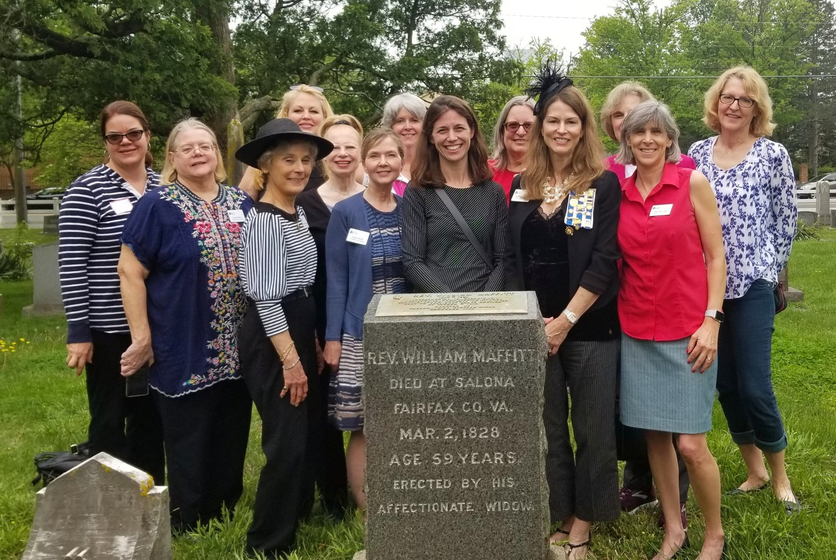 Freedom Hill Daughters visit the grave of the Reverend William Maffitt, Lewinsville Cemetery.