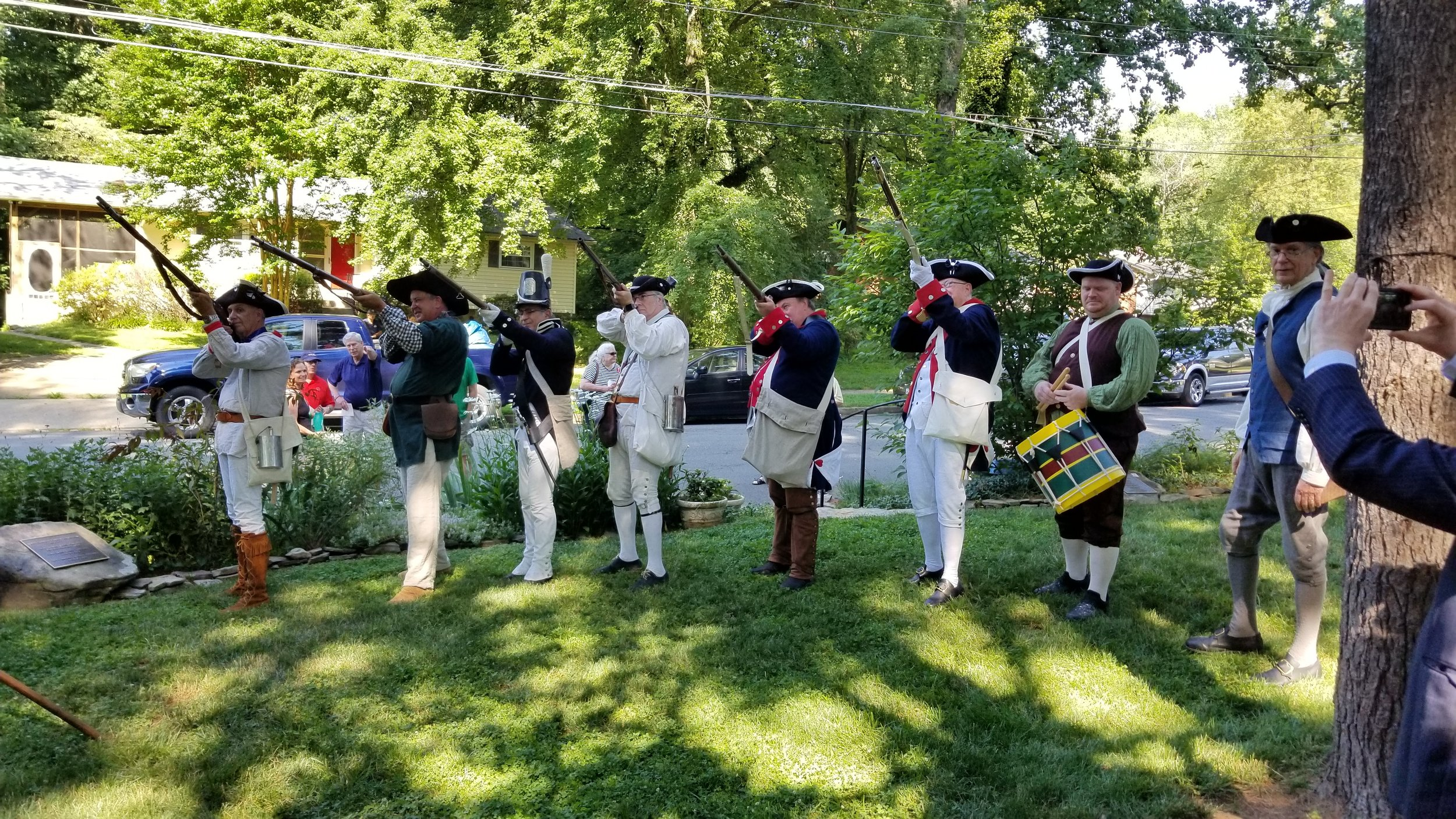Freedom Hill Daughters attend the Fairfax Resolves Chapter, SAR ceremony at the Wren-Darne cemetery, June 2019.