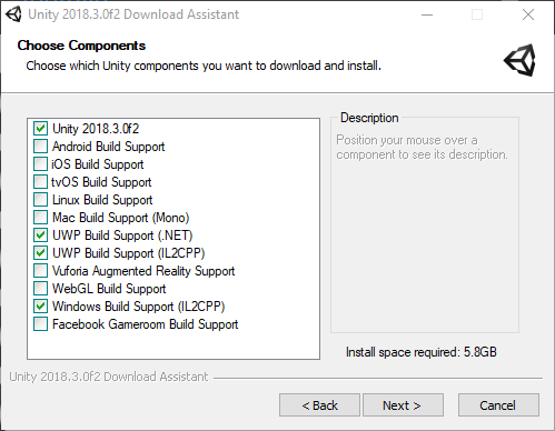 UWP Settings from Unity Installer