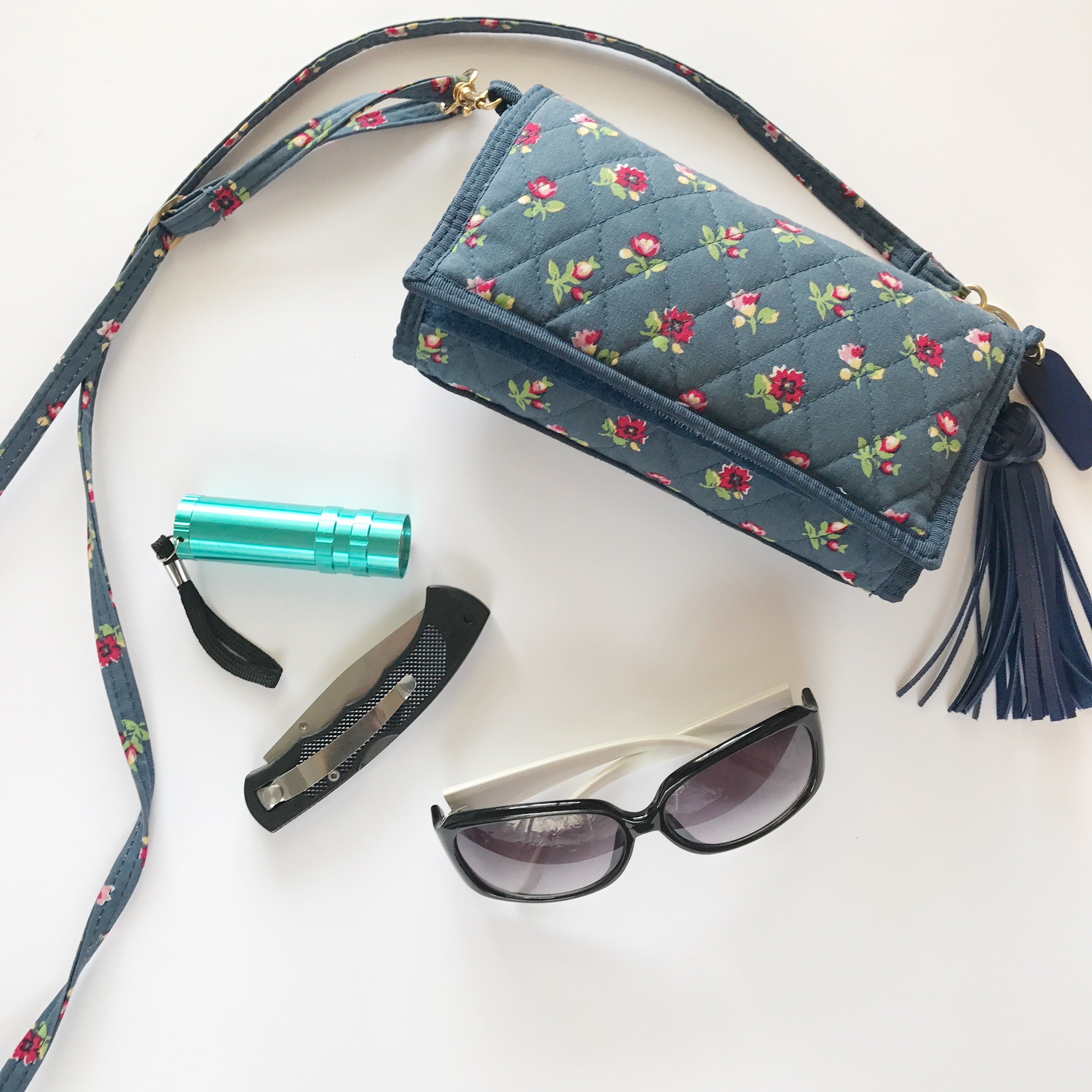 Wallet Purse (similar to this  Vera Bradley  one)   Flashlight and Pocket Knife