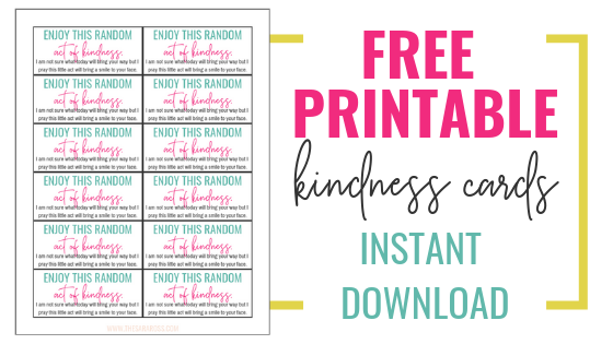 Examples of random acts of kindness plus FREE PRINTABLE notes! Random acts of kindness ideas list for work, teachers, strangers, kids, and family members. #randomactsofkindness #printablekindnesscards #raktivist
