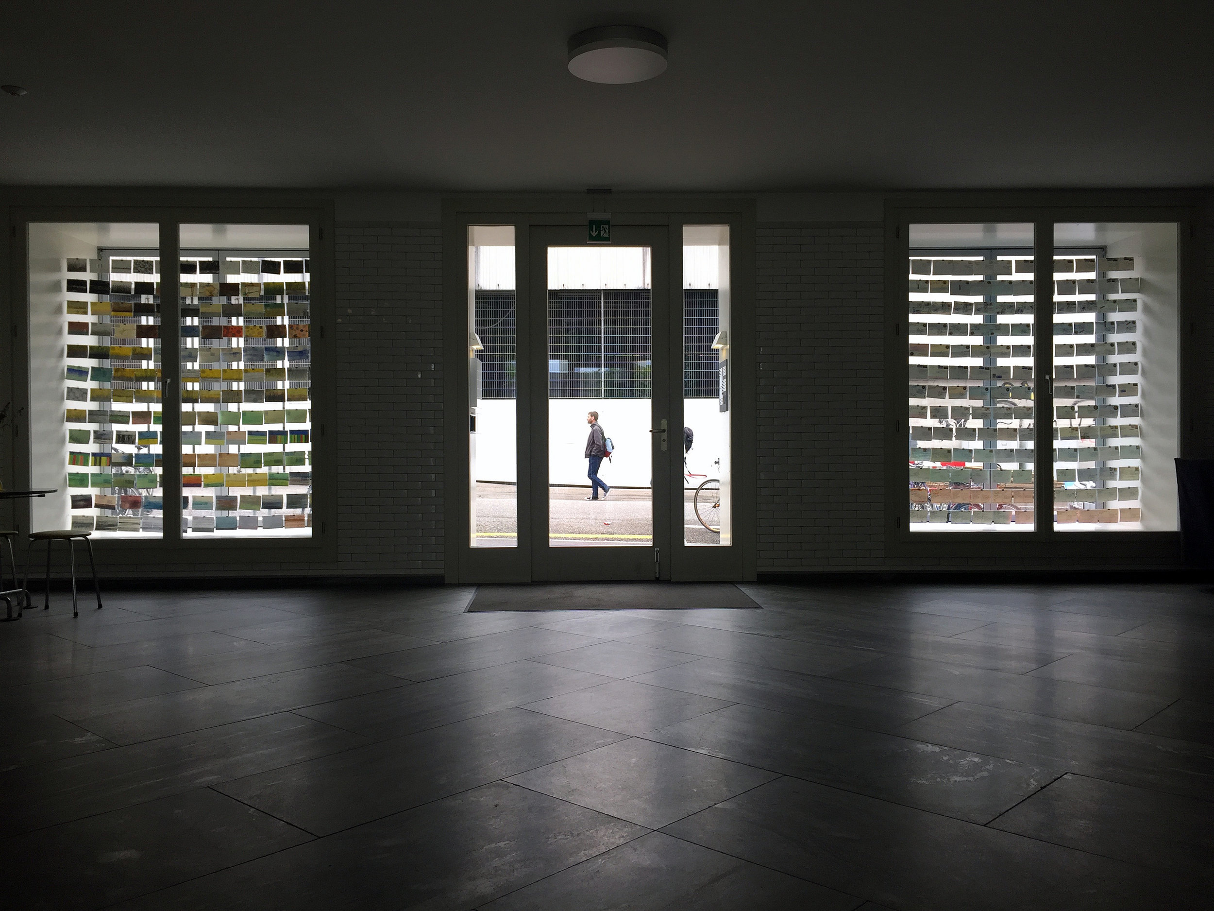 View of Wish You Were Here from inside the building, MUWO Basel June 2015