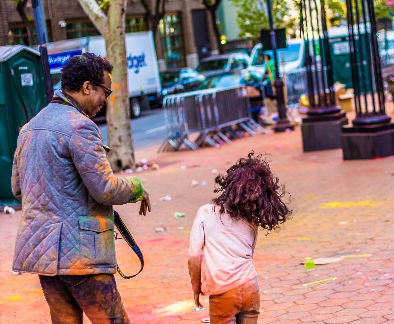 Street Photography - Holi Hai Festival Dad & Daughter 2