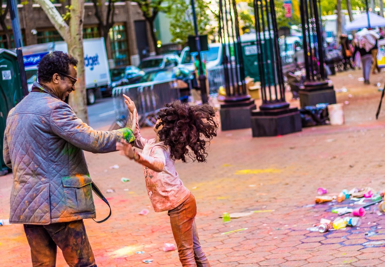 Street Photography - Holi Hai Festival Dad & Daughter 1