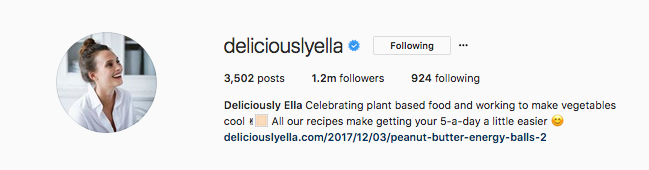 Deliciously Ella uses her links to promote the latest featured recipes.
