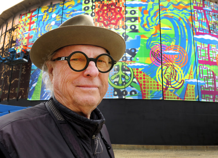 Graphic and visual artist John Van Hamersveld, at the site of the 510-foot round mural installation on Tuesday, April 24,2018 in El Segundo. This mural is composed of 51 individual panels that are10-foot by 32-foot each. (Photo by Dean Musgrove, Los Angeles Daily News/SCNG)