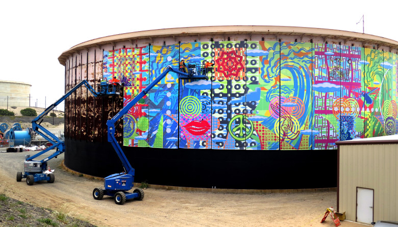 Graphic and visual artist John Van Hamersveld, project site of the 510-foot round mural installation on Tuesday, April 24,2018 in El Segundo.  The mural marks the completion of the Los Angeles Department of Water and Power�s (LADWP) Scattergood tank renewal project. This art mural is comprised of 51 individual panels that are10-foot by 32-foot each.  (Photo by Dean Musgrove, Los Angeles Daily News/SCNG)