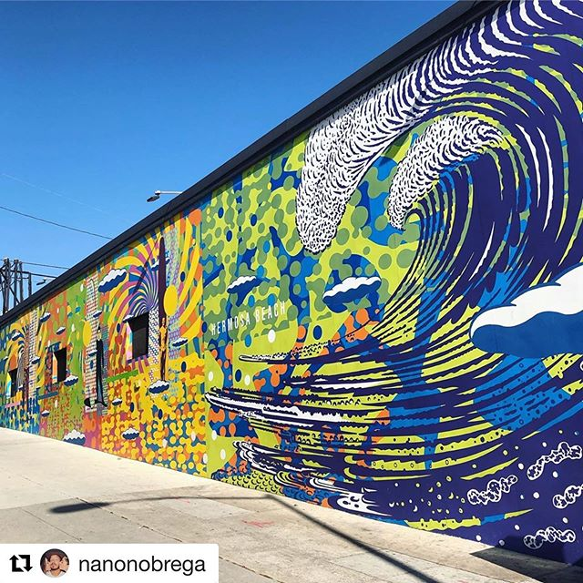 #locosart - post an inspiring piece of art and tag us @californialocos & the hashtag #locosart for an opportunity to be featured in our account every Sunday. — #Repost @nanonobrega ・・・ Build more art murals... not walls! Always brings me a smile to drive by this mural in our neighborhood, done by my good Loco friend, John Van Hamersveld (@coolhous ) 🤙 — #locosart #californialocos #johnvanhamersveld #hermosabeach #surflife #surfart #somoslocos