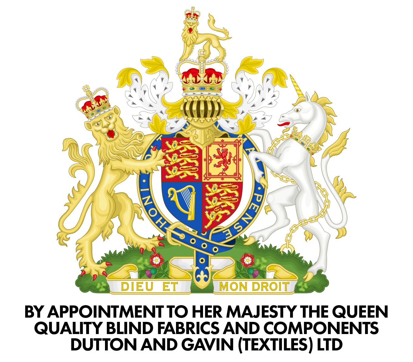 By Royal Appointment - We are very proud to display our Royal Warrant of Appointment – awarded to Dutton & Gavin Textiles as suppliers of quality blind fabrics and components to Her Majesty The Queen.