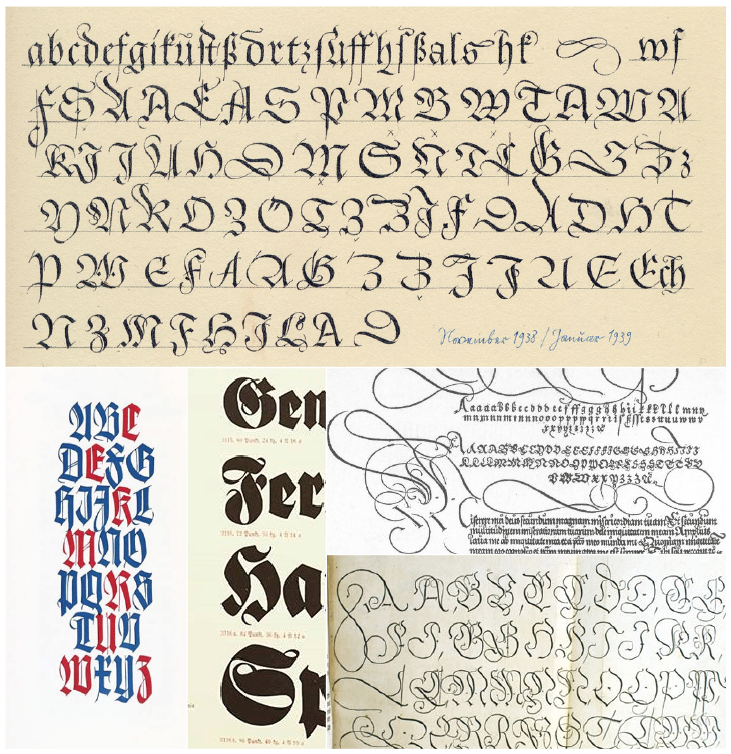 Exemples historiques de Johann Neudörffer l'ancien, Rudolf Koch, Hermann Zapf