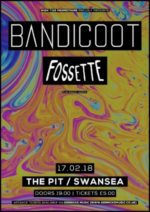 Bandicoot headline the Pit with support from Fossette & more on 17/02/18.