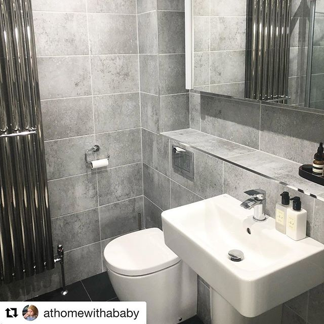 #Repost @athomewithababy ・・・ Beautiful bathroom we finished earlier this year! Looking showroom clean 👏🛁🚿💎✨ - - - - #bathroomsofinstagram #bathroomgoals #concrete #modern #cleanlines #designerradiators
