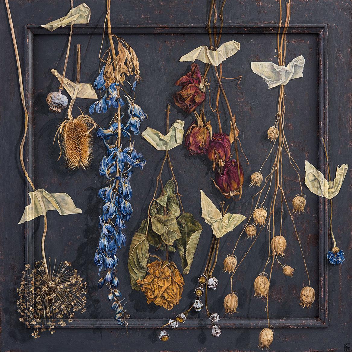 'Masked' Oil and Copper Leaf on Panel, 54cm x 54cm, 2017 SOLD