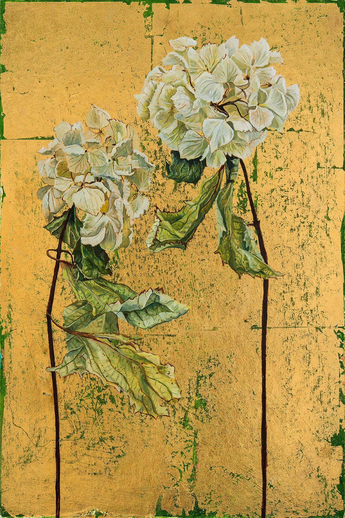 'White Hydrangeas', Oil and Metal Leaf on Card, 37.5cm x 25cm , 2015. SOLD