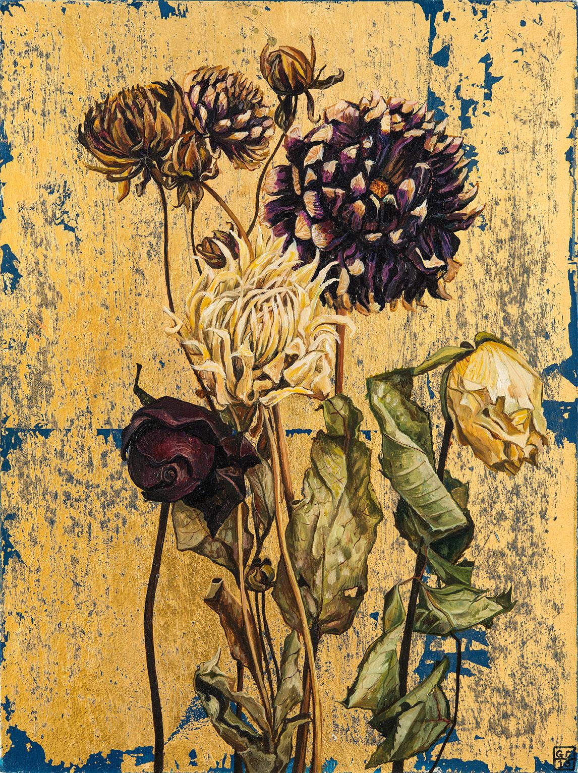 'Dahlia Rose', 'Oil and metal leaf on Card, 25cm x19cm, 2015 SOLD