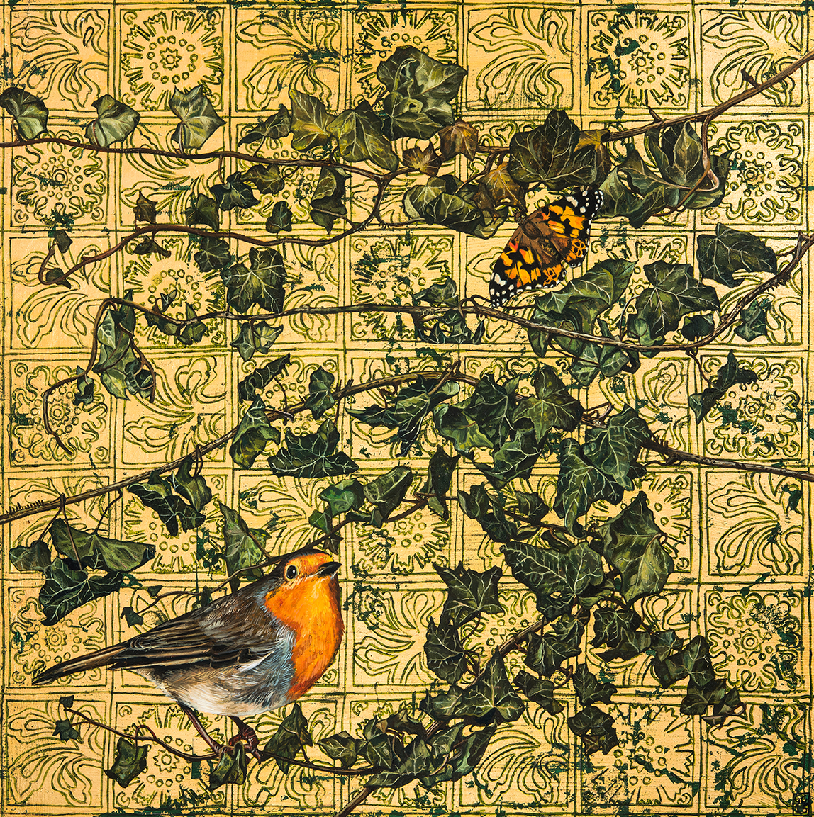 'Robin and Painted Lady', Oil and gold leaf on board, 30cm x30cm, 2015, SOLD