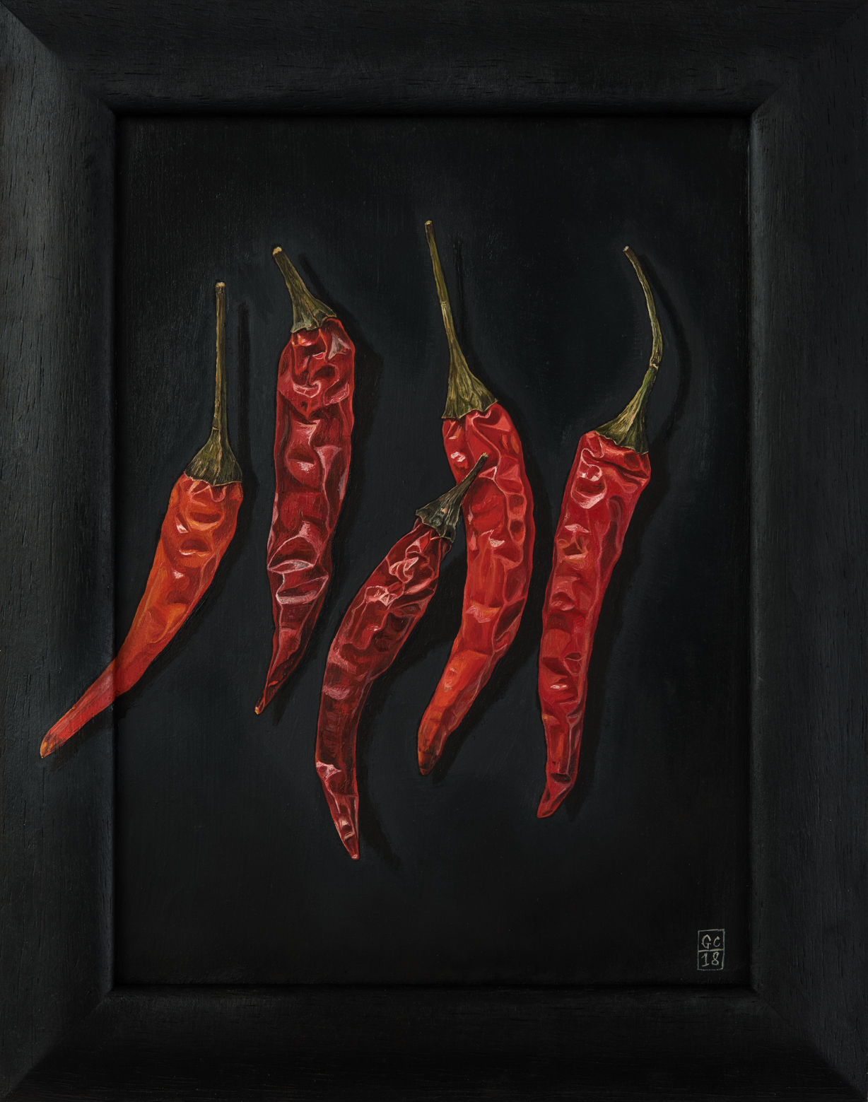 Chillies, Oil on Panel, 2018 SOLD