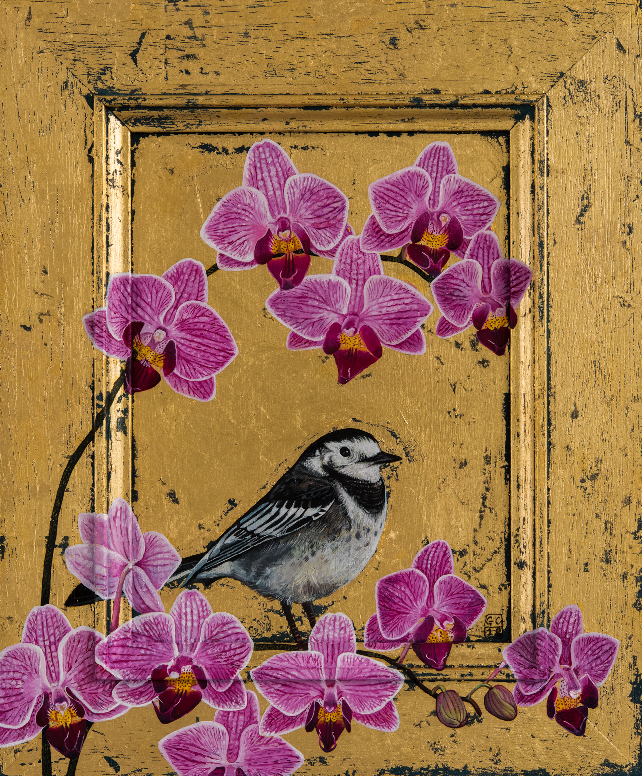 'Pied Wagtail and Orchid',Oil and Gold leaf on Panel, 27 x 22cm, SOLD