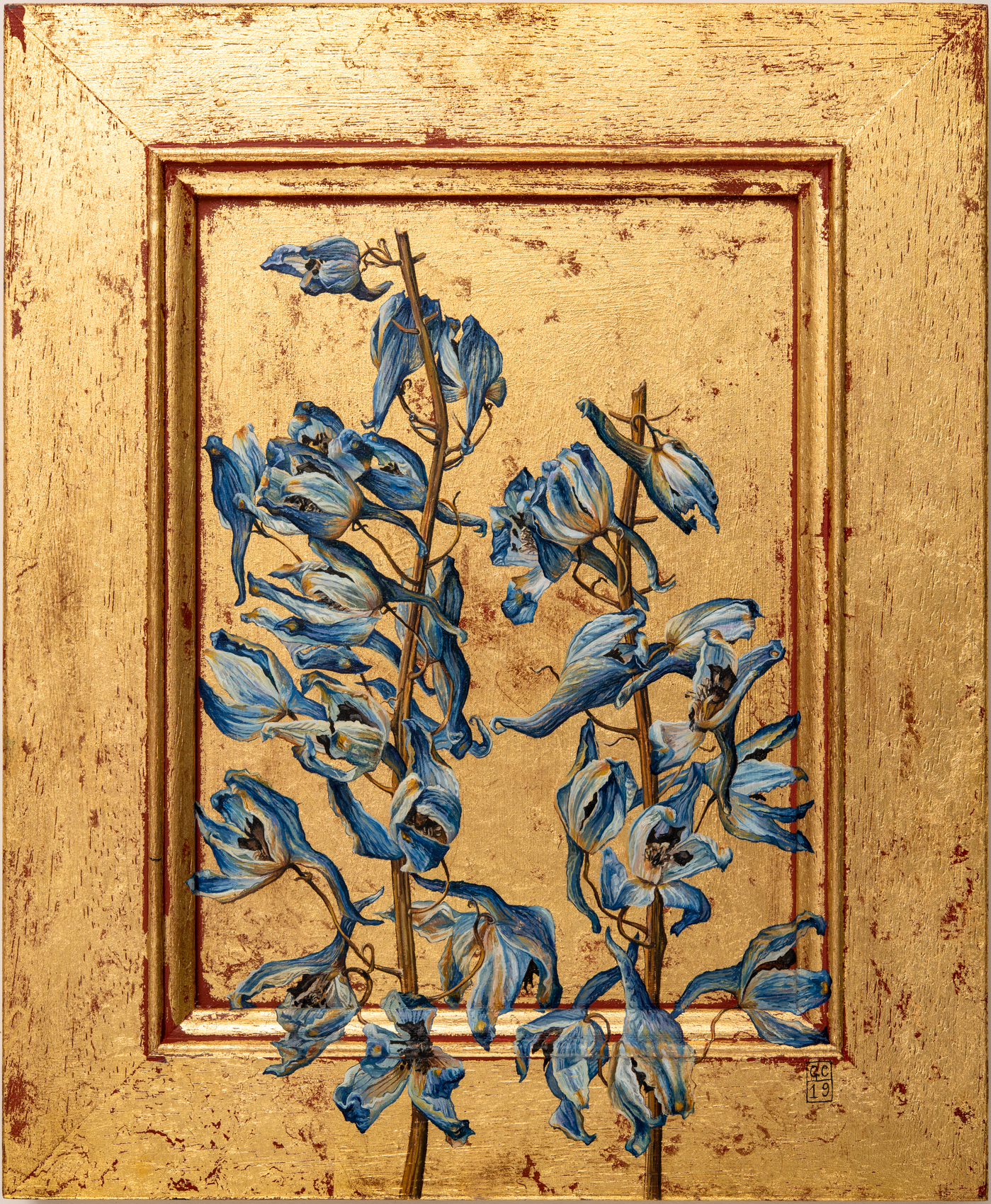 """""""Delphiniums' 26 x22 cm, Oil and Gold Leaf on Panel, SOLD"""