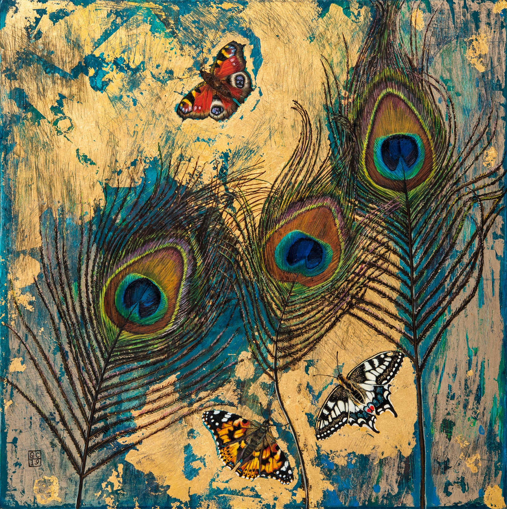 'Peacock Feathers and Butterflies', Oil and Gold Leaf on Panel, 26 x 26cm, SOLD