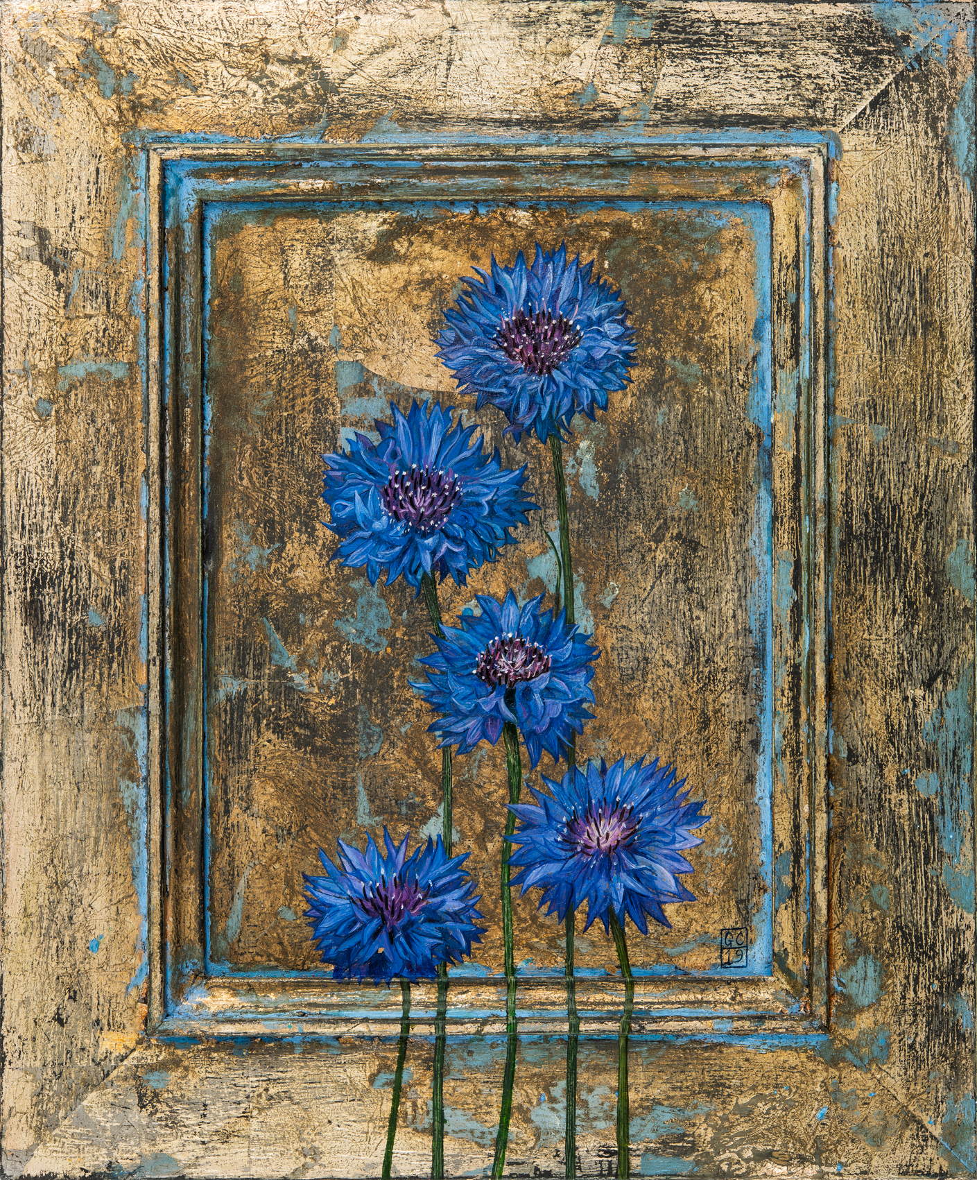 'Cornflowers', Oil and Silver Leaf on Panel, 28 x23 cm