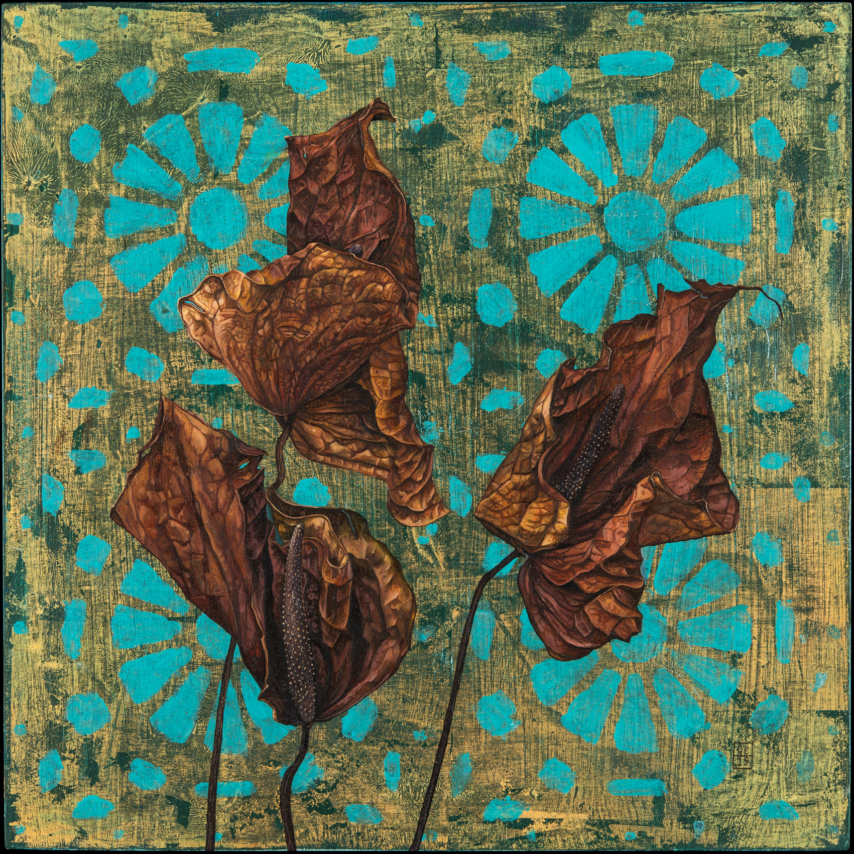 'Lilies', Oil and Metal Leaf on Panel, 30x 30cm
