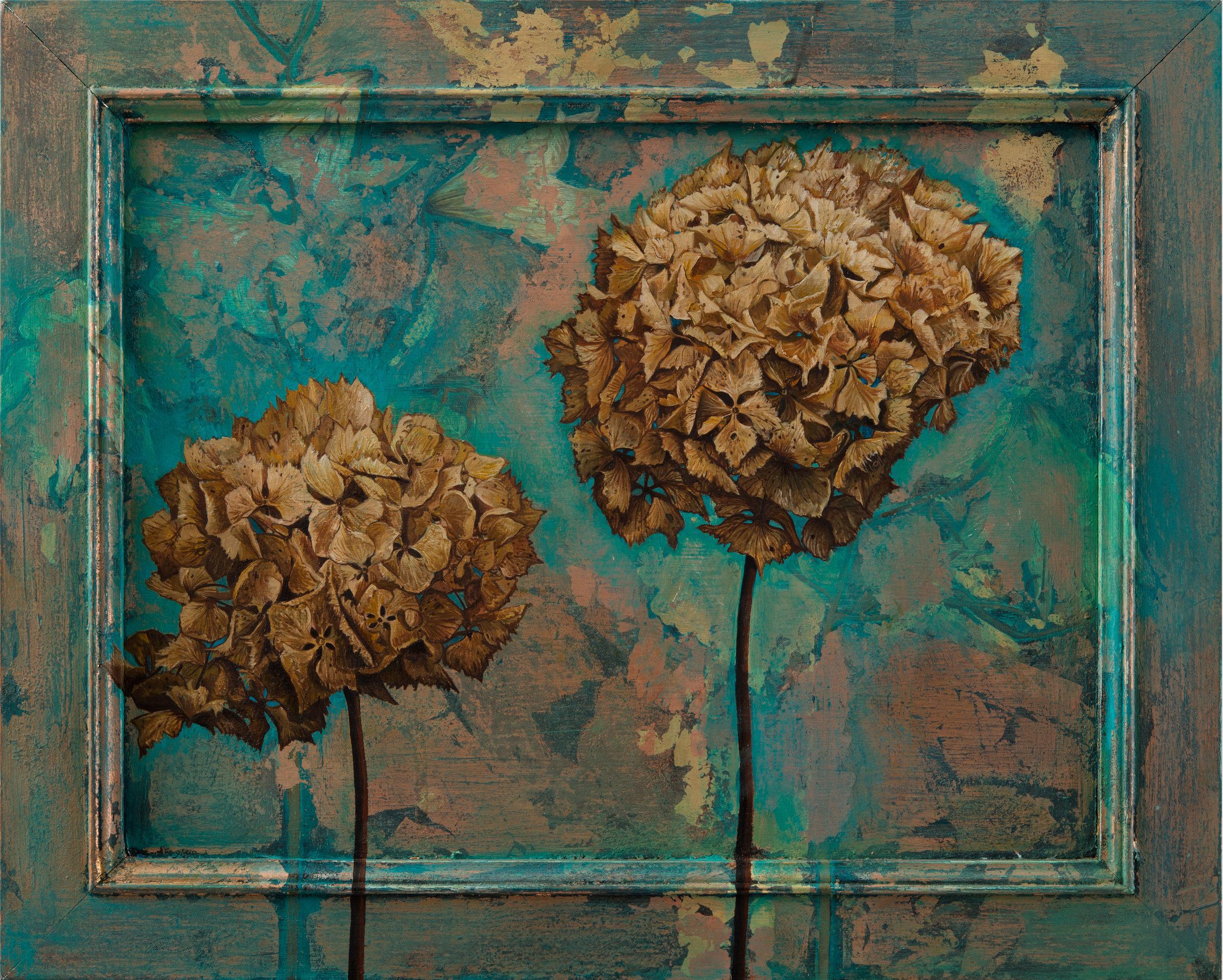 """""""Hydrangeas', Oil and Metal leaf on Board,58.5cm x39cm, SOLD"""