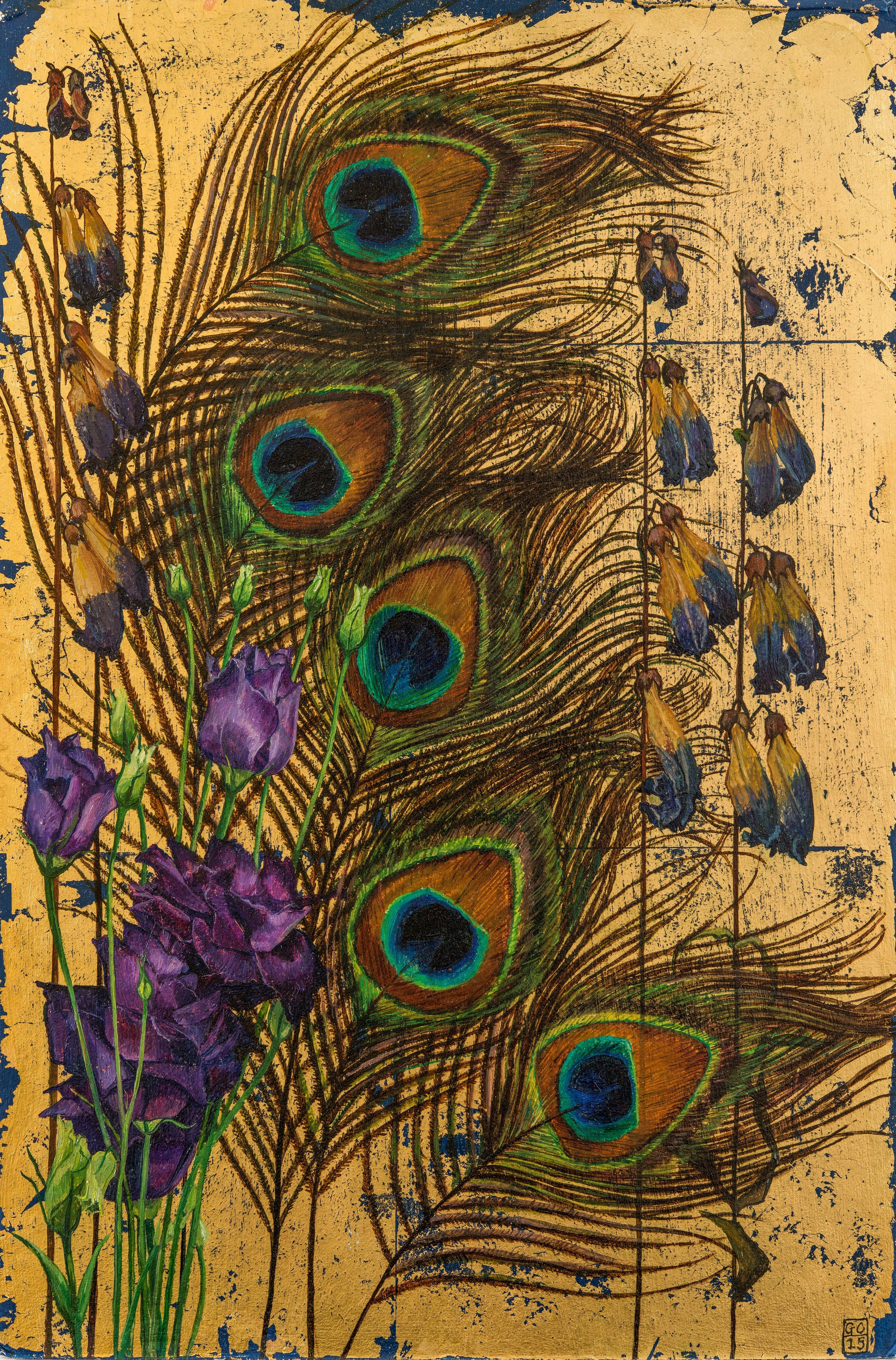 'Peacock Feathers', Oil and Metal Leaf on Card, 25cm x 19cm, 2015, SOLD