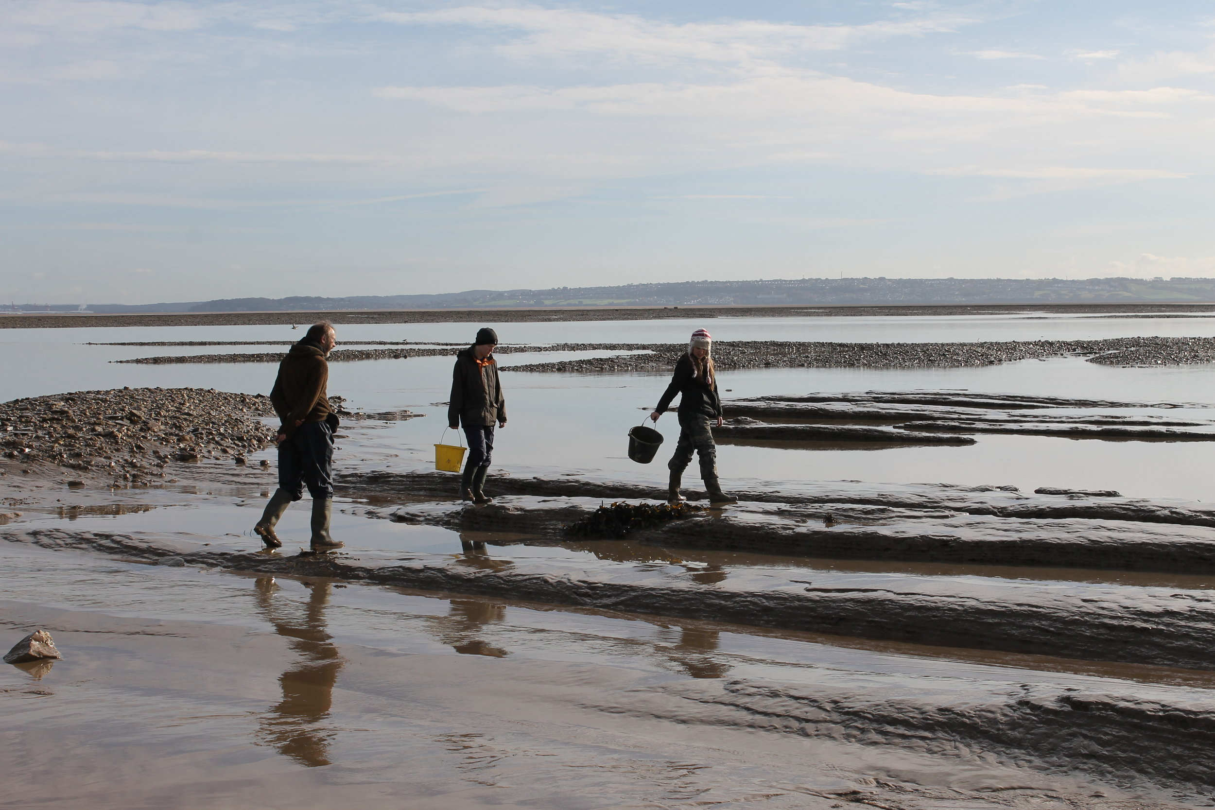 Archaeologists working in the intertidal zone, Goldcliff