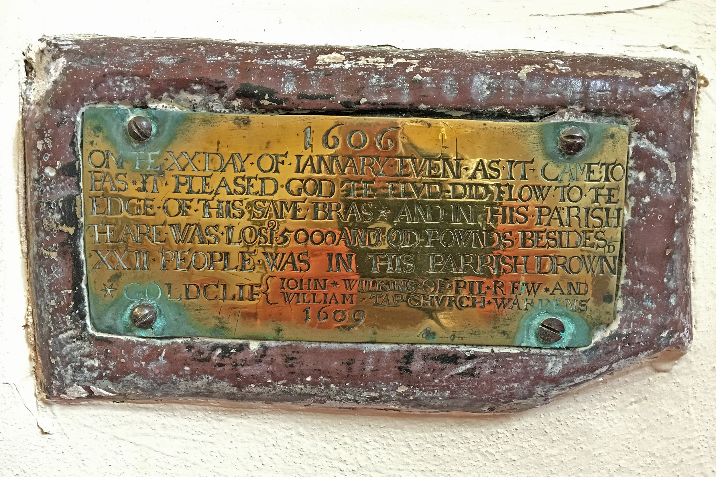 Plaque commemorating the 1607 flood at St. Mary Magdalene Church, Goldcliff