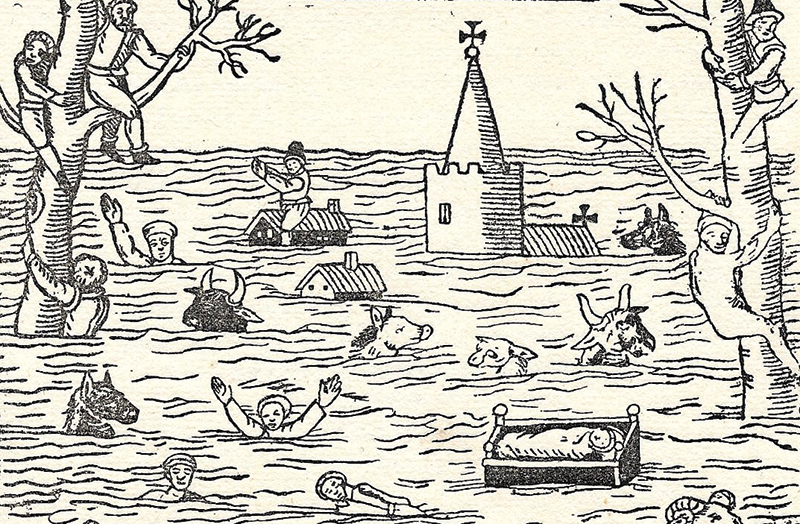 Contemporary woodcut illustration showing effects of 1607 flood (Steve Rippon)