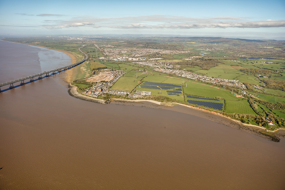 Looking west towards Sudbrook Point and Second Severn Crossing. Black Rock (right)