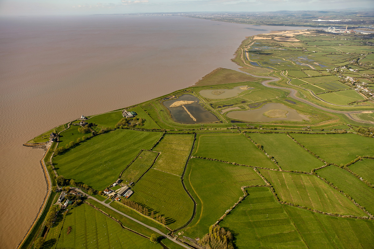 Looking west over Goldcliff towards Goldcliff Lagoons and Newport Wetlands (top right).