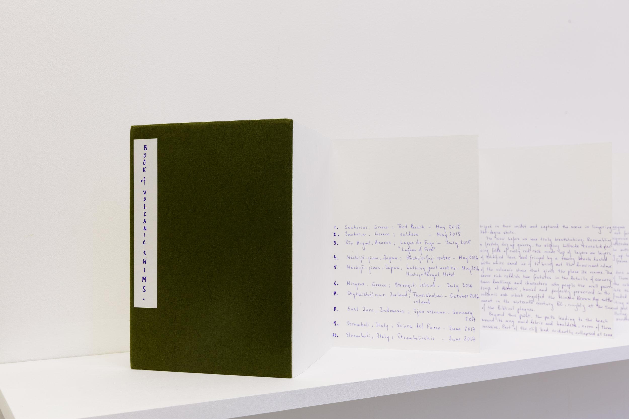 Agnieszka Gratza, Book of Volcanic Swims, 2017. Japanese folded book. Photo: Tim Bowditch.