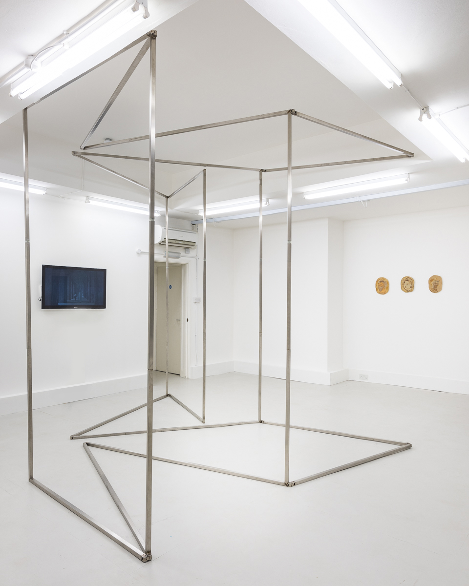 Nika Neelova, Folded Rooms, perimeter of studio traced in stainless steel and wax and folded, 2017. Image courtesy Vigo Gallery. Photo: Damian Griffiths.