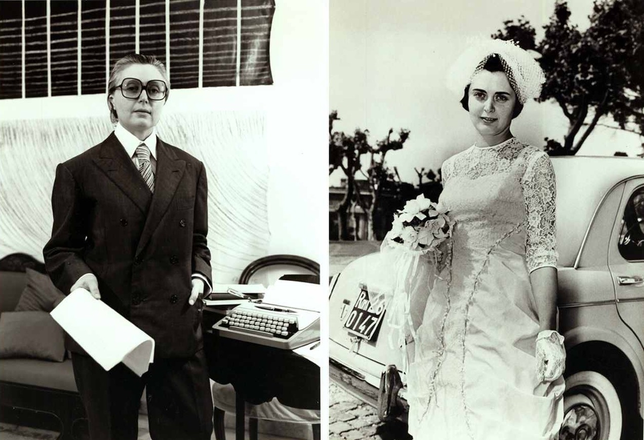 Bianca Menna e Tomaso Binga Oggi Spose  (Bianca Menna and Tomaso Binga Brides Today), 1977, black and white photographs in vintage frames, diptych, 17x12 cm (each). Courtesy the artist and Archivio Menna-Binga