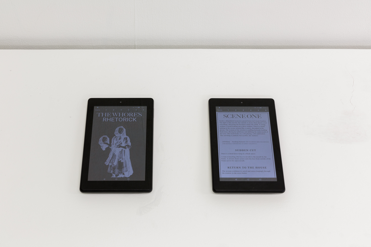 Georgia Horgan, Tablets displaying www.thewhoresrhetorick.com, 2019. Courtesy of the artist. Photo: Tim Bowditch