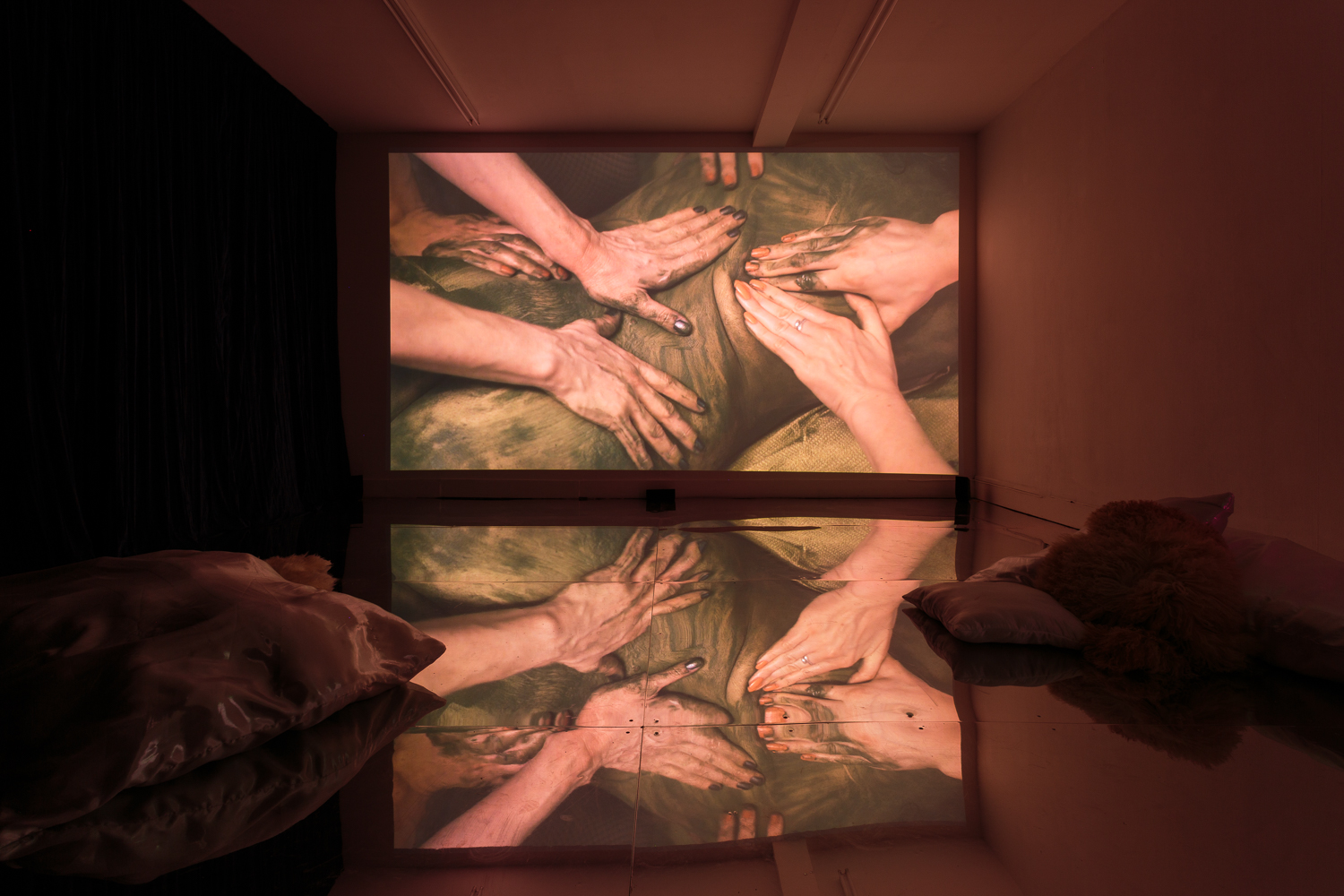 Zoe Williams, Sunday Fantasy, 2019, installation view, film co-directed by AmyGwatkin, courtesy of the artist andAntoineLevi gallery, Paris. Commissioned byMimosa House and supported by ArtsCouncil England. Photo: Tim Bowditch