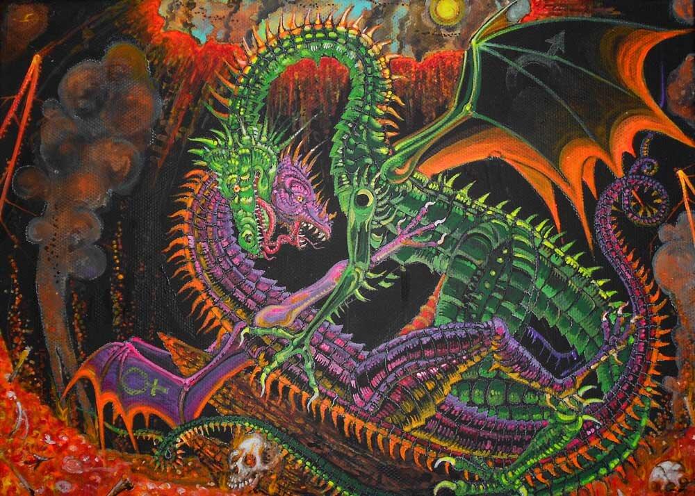 """Magma Mating,"" as seen in the 2015 Dragon Sex Calendar."