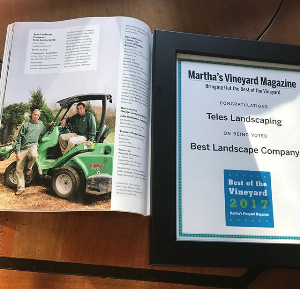 Teles Landscaping voted  Best of the Vineyard 2017 and 2018