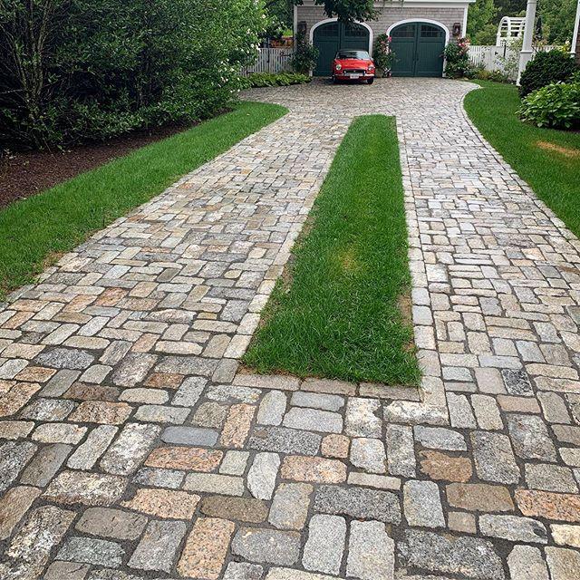 #reclaimedcobblestones #driveway installed last fall. #marthasvineyard #edgartown