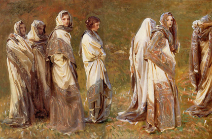 Cashmere by John Singer Sargent, featuring the artist's niece in an exotic cashmere shawl.