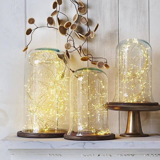 Is there anything more simple and more stunning for fall decor than our LED light strands in our Fay Cloches? I think not! #moduslighting #moduslifestyle2016 #moderndecor #homedecor #falldecor #holidaydecor