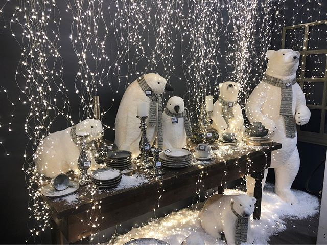 We're hosting a snow-covered polar bear dinner party in booth 6621 at #togiftmkt. Come by for some festive window inspiration!